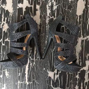 Celeste Black Sparkle Platform Heels
